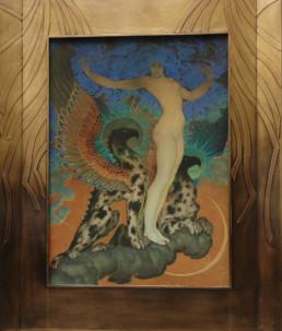 Peinture de Kalmakoff, cadre en bois, décor de laiton patiné