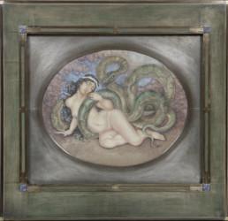 Peinture de Kalmakoff, cadre en bois patine verte rehaussé d'un filet de bronze.