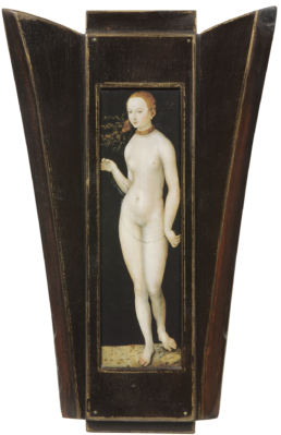 Eve de Cranach. Cadre en bois résiné, filet d'or, évocation d'un retable