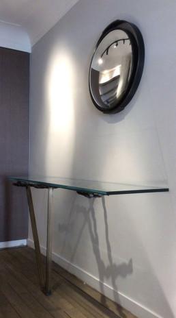 Console en bronze et tablette en verre