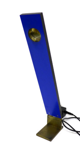 Lampe de bureau formica bleu et laiton argenté