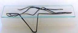 Console en laiton et tablette de verre