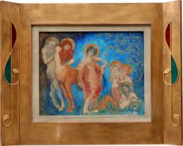 Peinture de Kalmakoff, cadre en bois habillé de résille en laiton