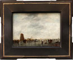 Peinture sur bois, cadre en bois patiné, avec filets en bronze guillochés.