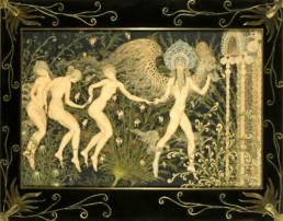 Oeuvre de Kalmakoff, cadre en bois sombre, appareillage de motifs en laiton