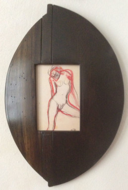 Dessin de Rodin, cadre en bois massif
