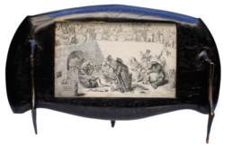 Gravure de Grandville, présentation sur pieds en bois façon ébène.
